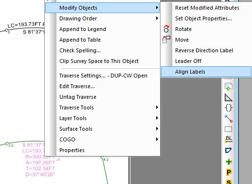 Right Click Align Label Command