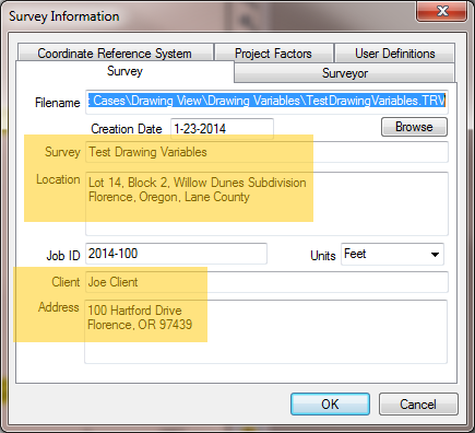 Survey Information Dialog For Variables