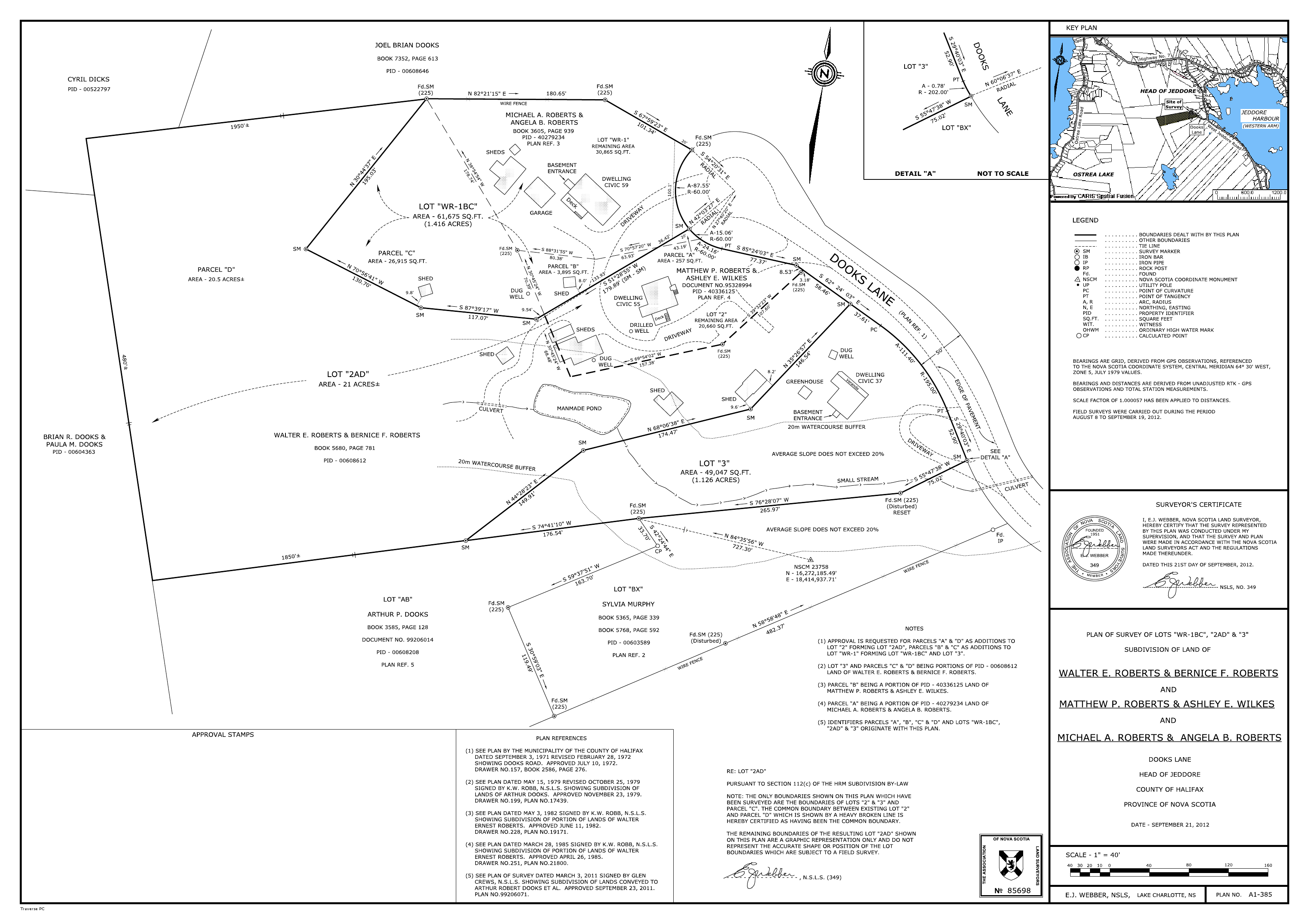 This survey was carried out to alter the boundaries of existing lots through subdivision and consolidation and involved a number of Municipal Subdivision By-Law requirements.