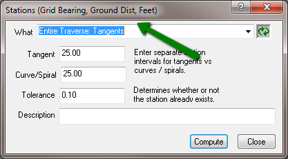 Stations dialog with ground distance