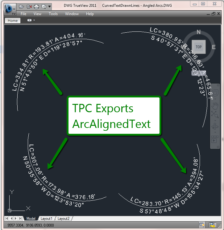 Export ArcAlignedText to DWG