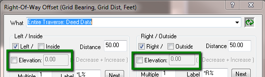 ROW Offset Elevations