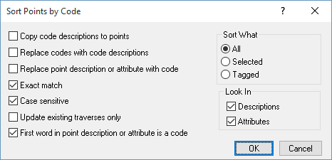 Sort Points by Code dialog box