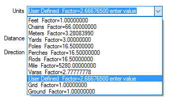 Varas and User Defined Units Factors