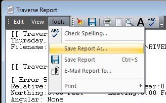 Traverse Report Save As