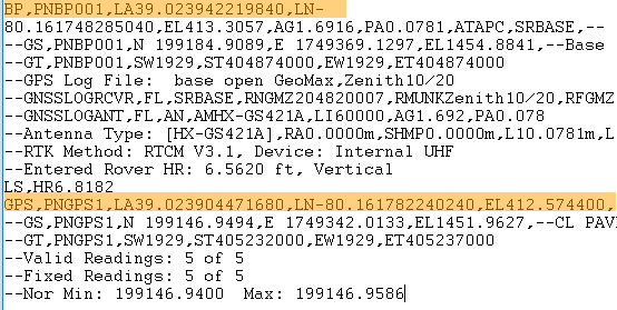 Carlson RW5 BP & GPS Data