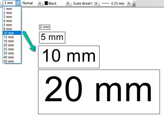 Metric Text Sizes