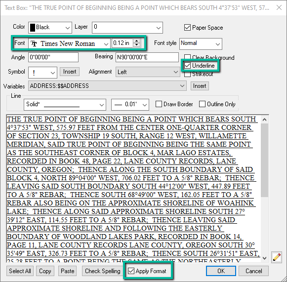 Text Dialog Apply Format